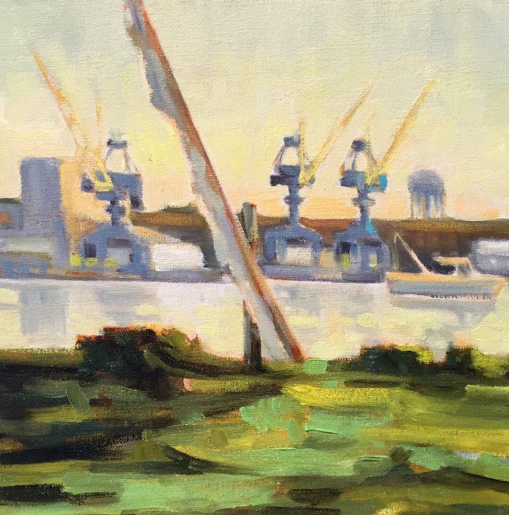 Gundalow n Cranes, oil, 12 x 12