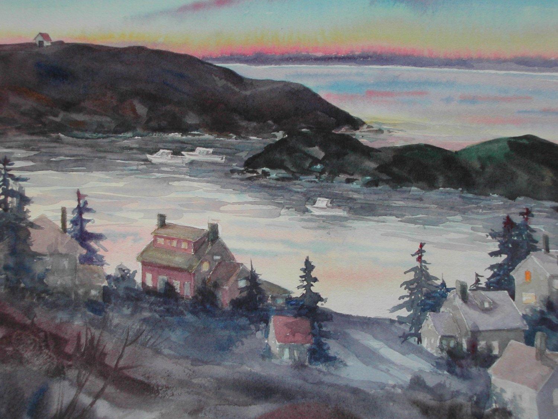 Manana Island, watercolor, 11 x 15