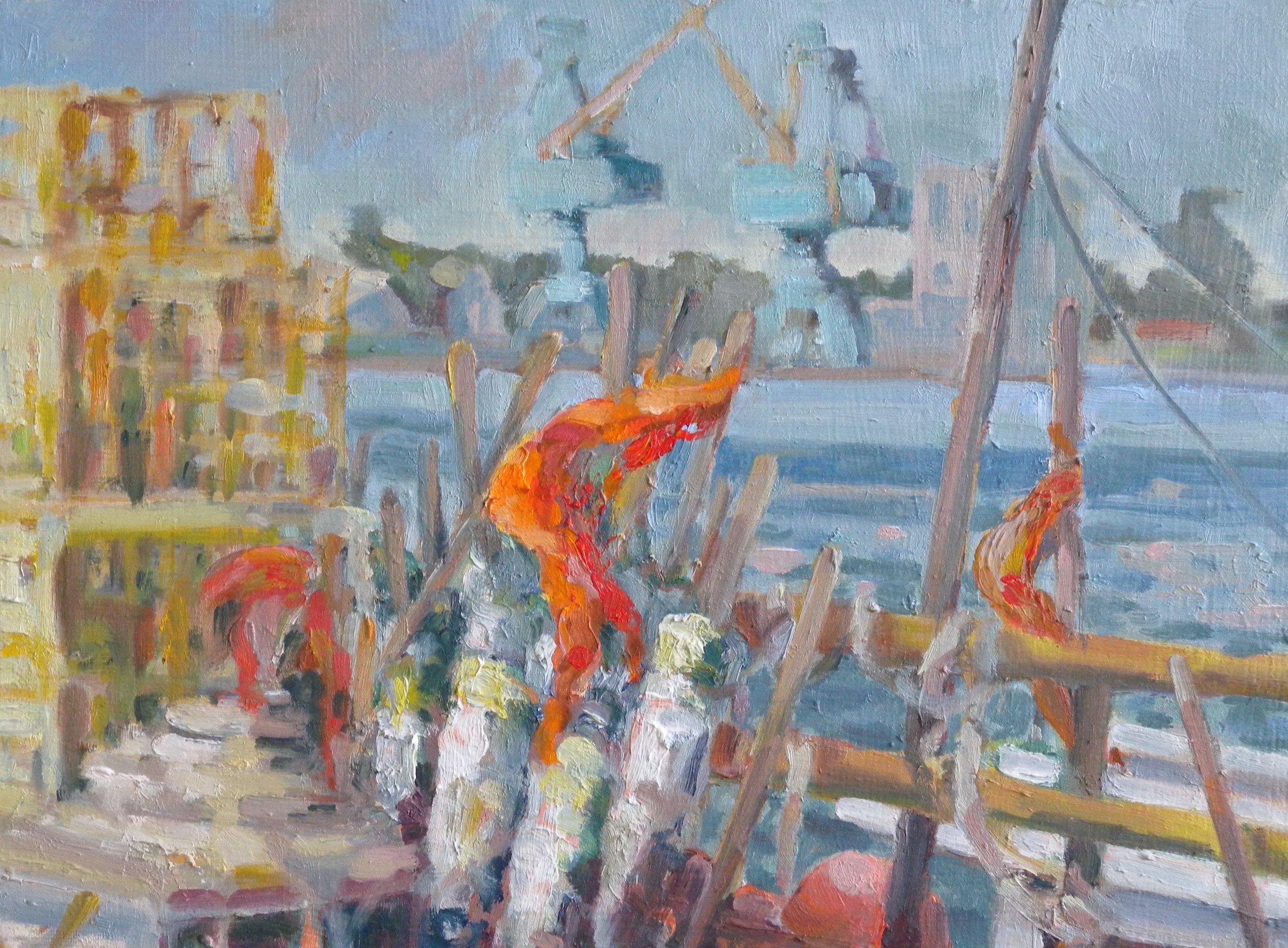 Orange Flags, oils, 12 x 14