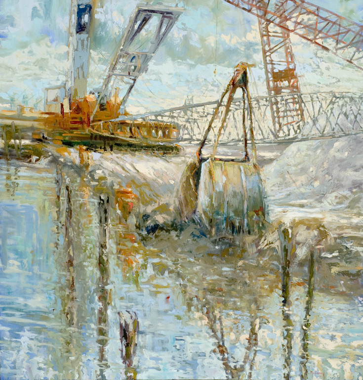 Red Crane, oils, 30 x 40