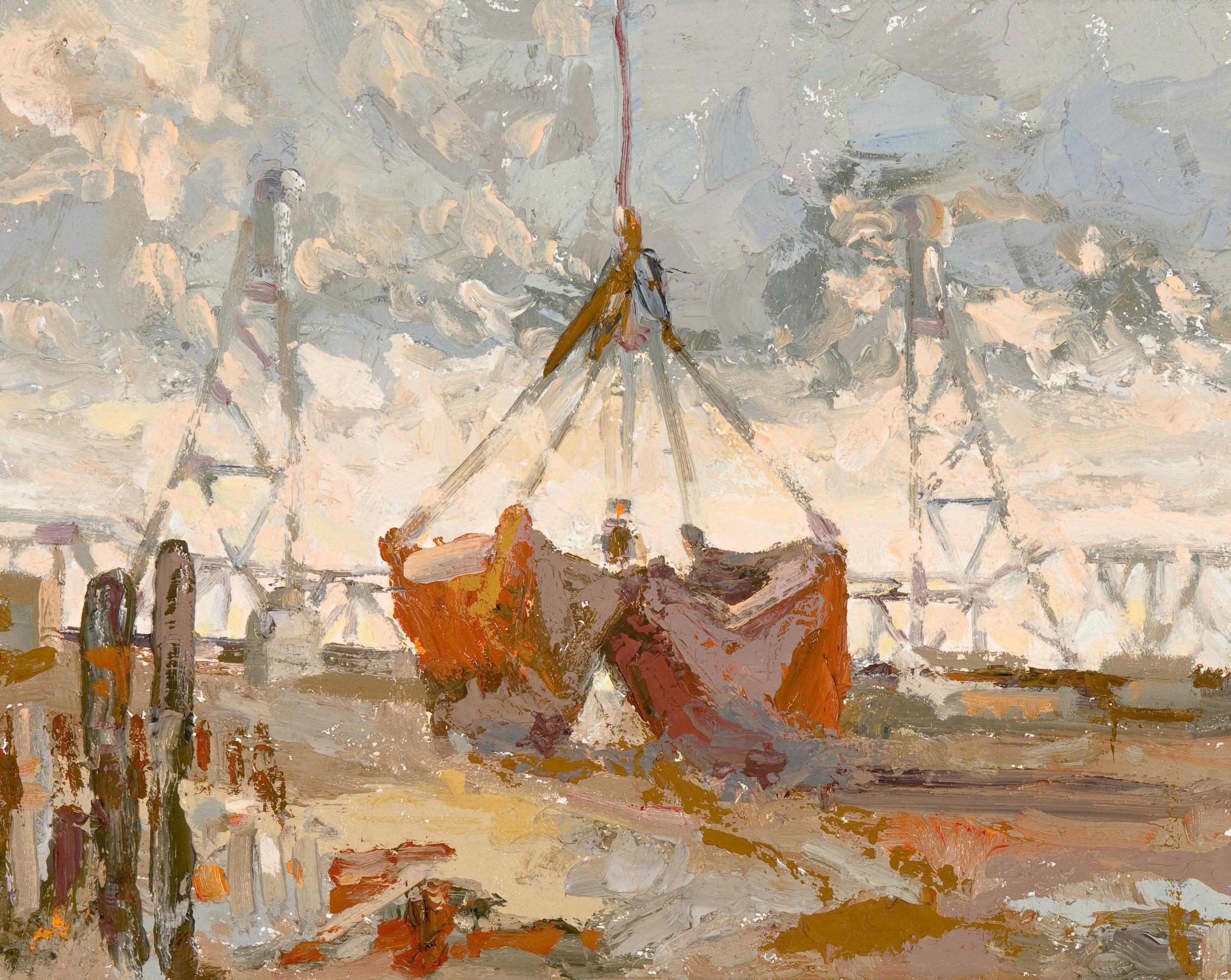 Red Shovel w Bridge, oils, 9 x 12