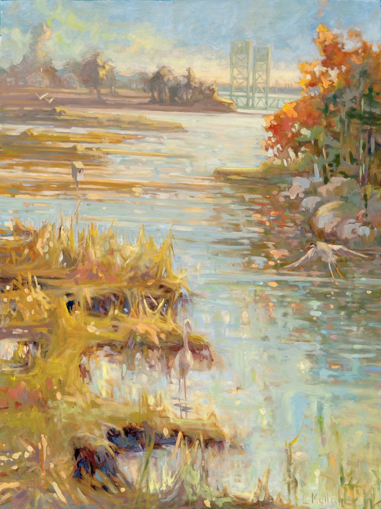 Sarah Long w Heron, oils, 22 x 30