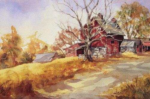 Simsbury Farm, watercolor, 15 x 20