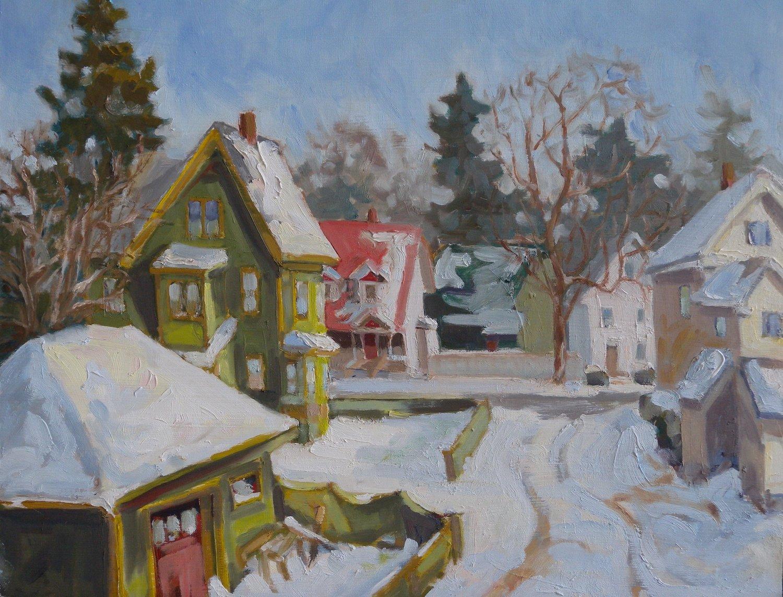 Wibird Fresh Snow, oil on board, 12 x 14