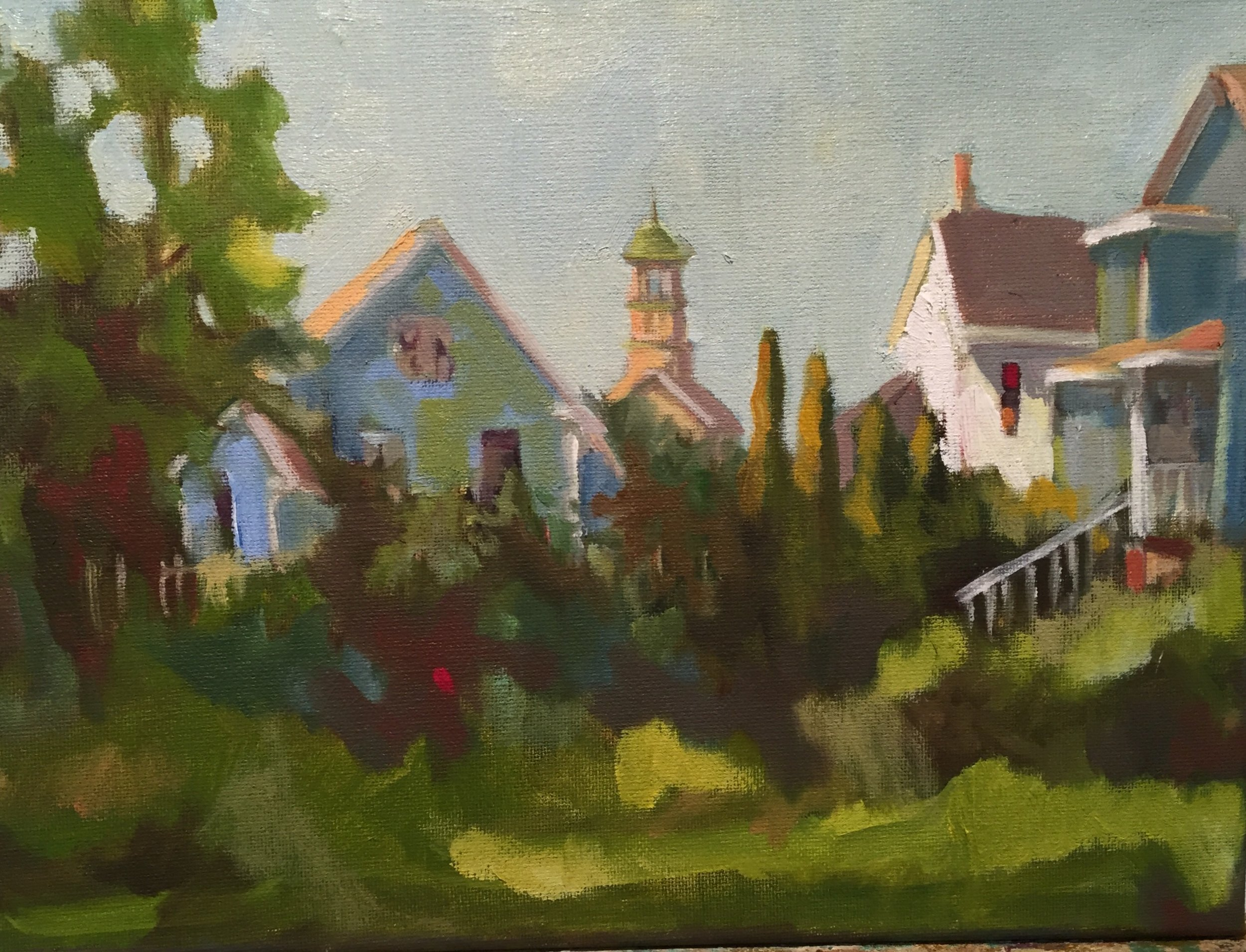 South End, oils, 9 x 12