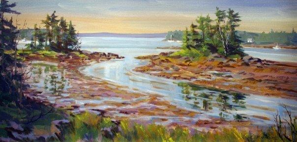 Creek at Low Tide, watercolor, 14 x 24