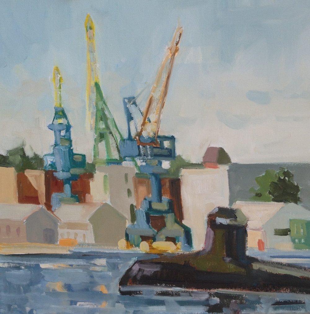 Sub n Cranes, oils, 10 x 10
