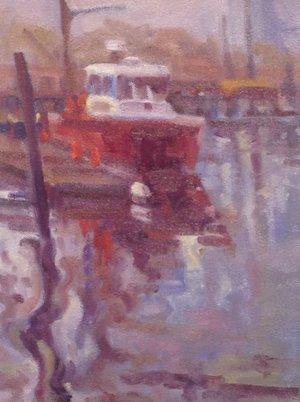 Fireboat in Fog, oils, 9 x 12