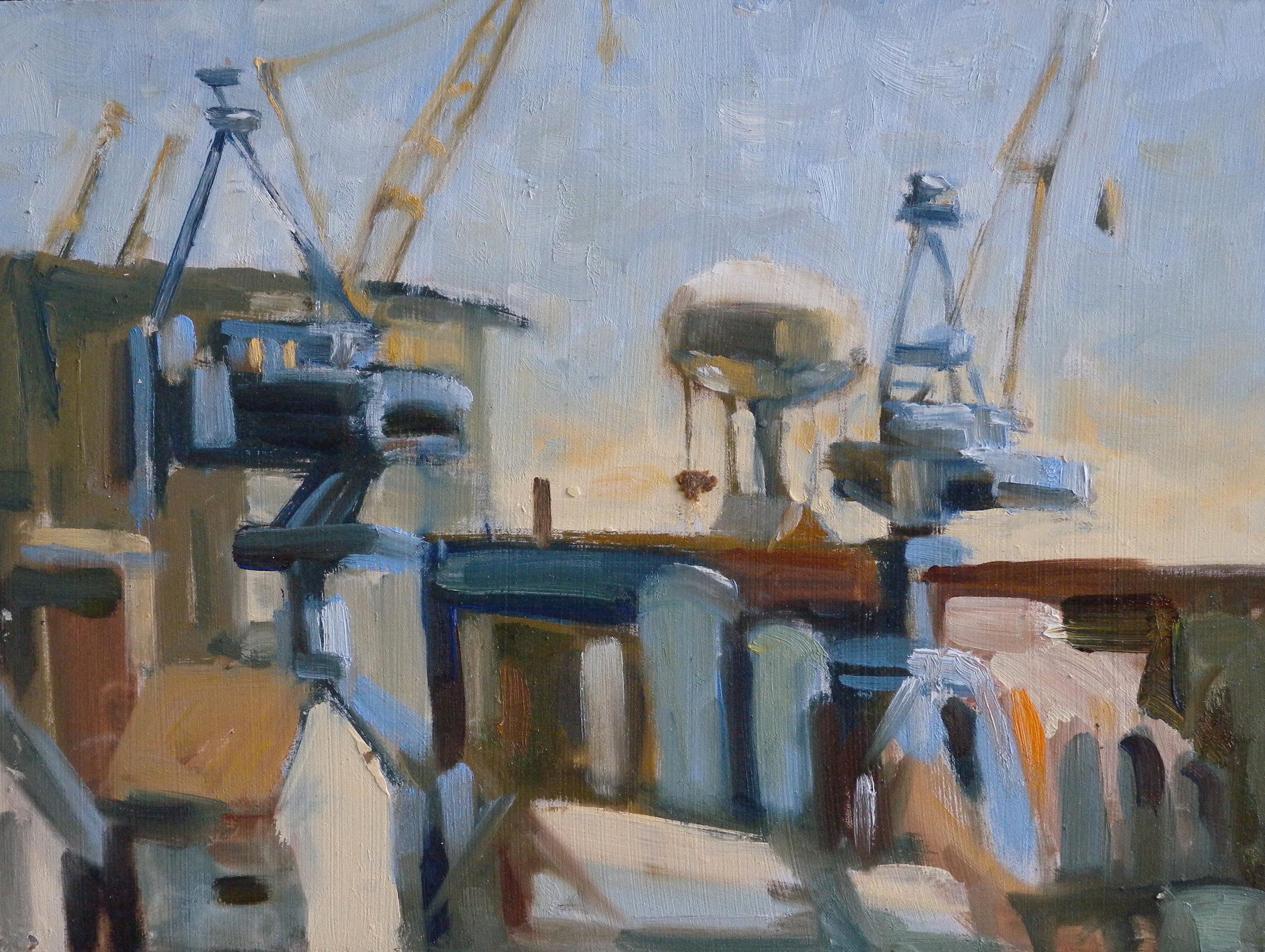 Two Crane w Tower, oils, 9 x 12