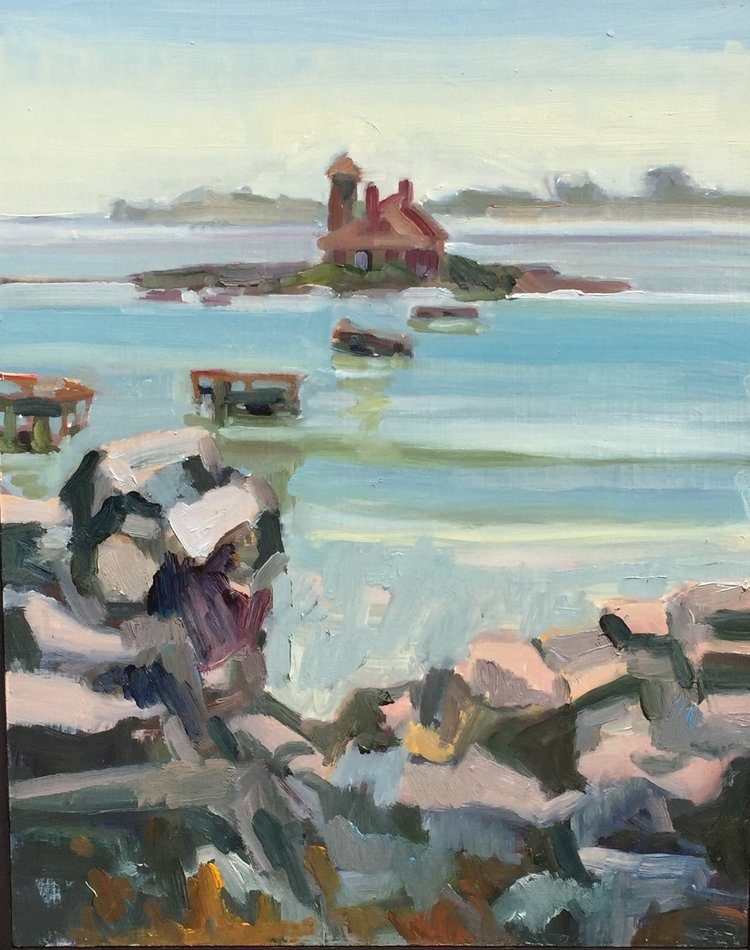 Wood Island Bridge, oils, 9 x 12