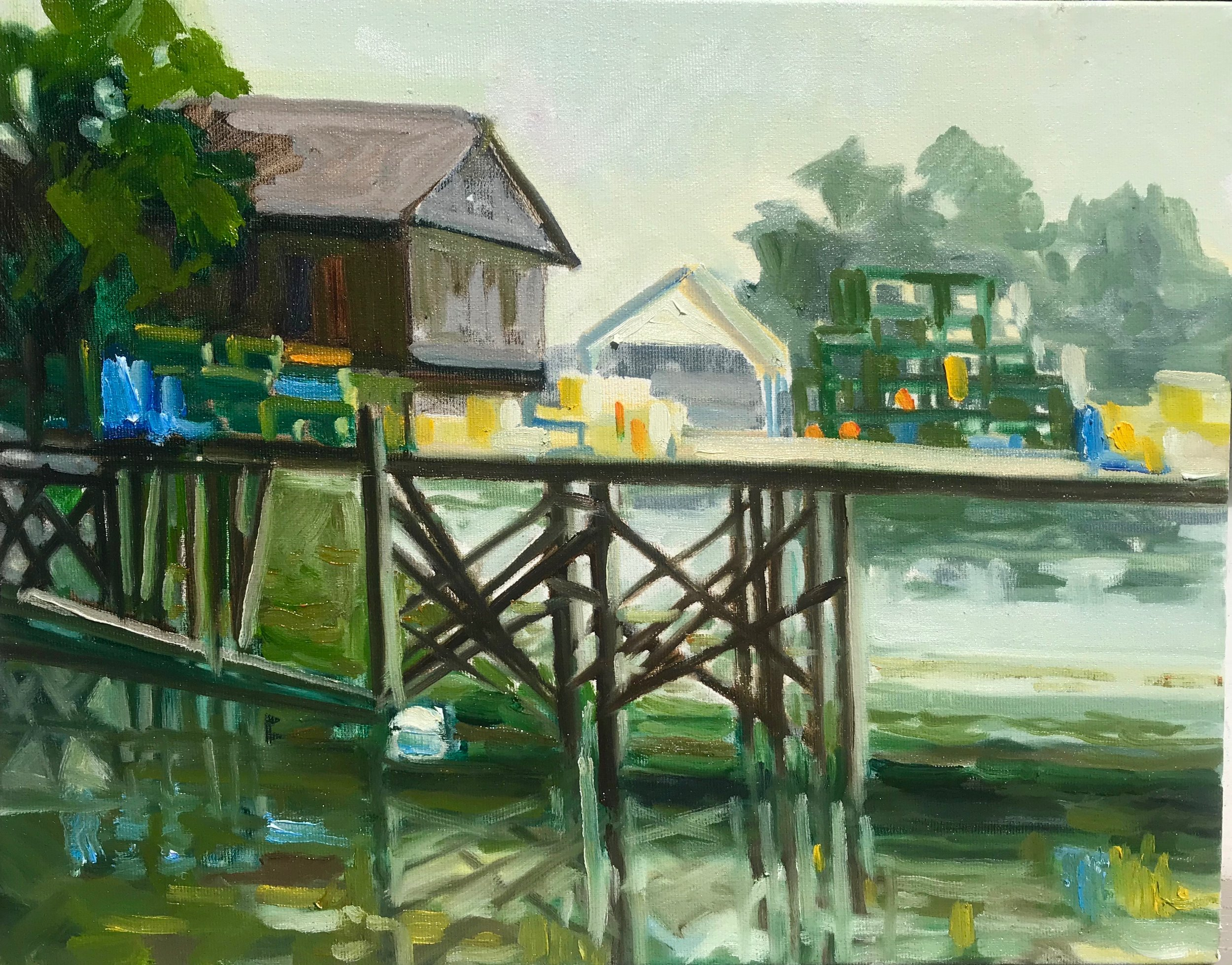 Pier Reflections  oil 11 x 14