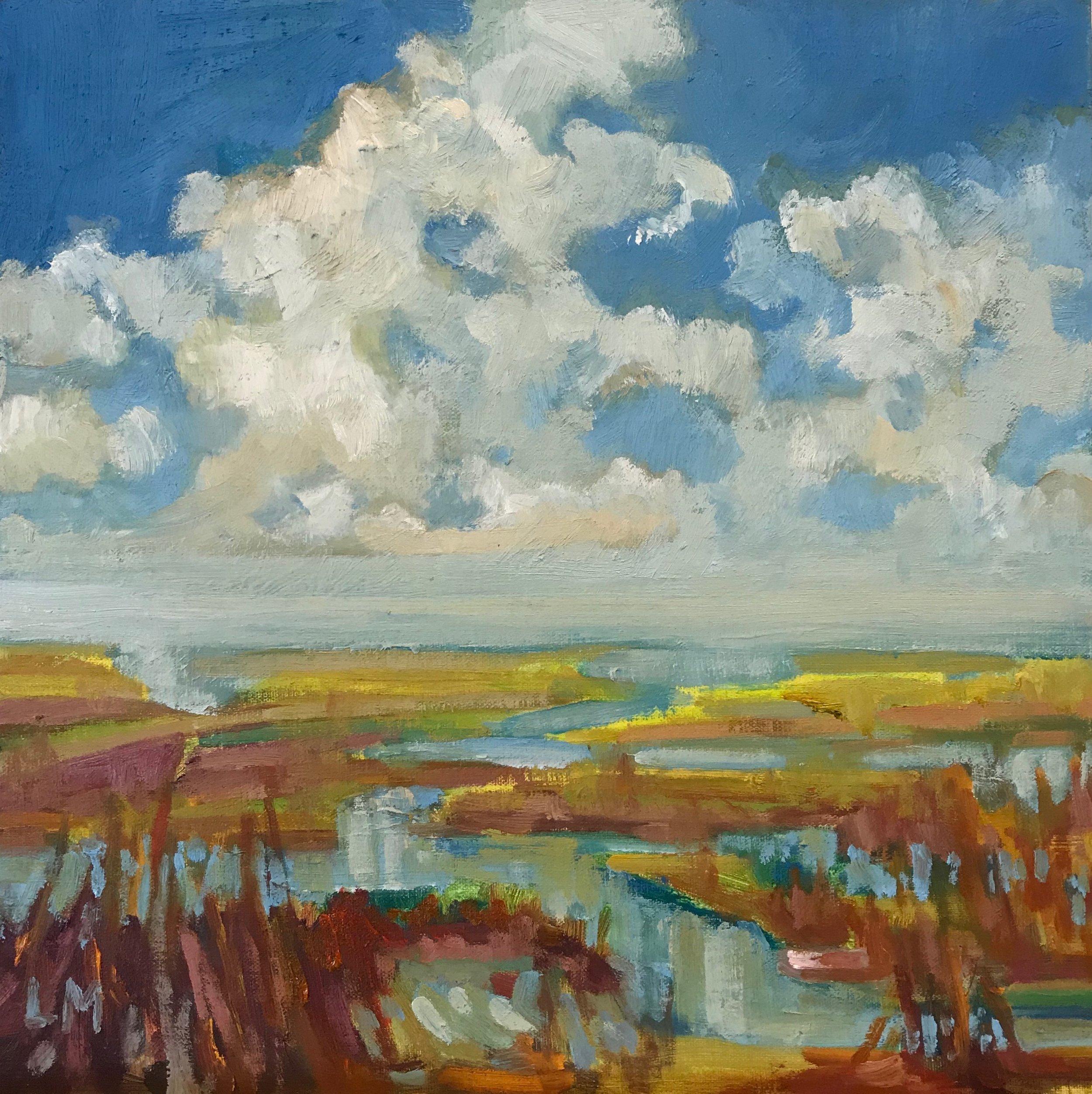 Wetlands, oils, 12 x 12