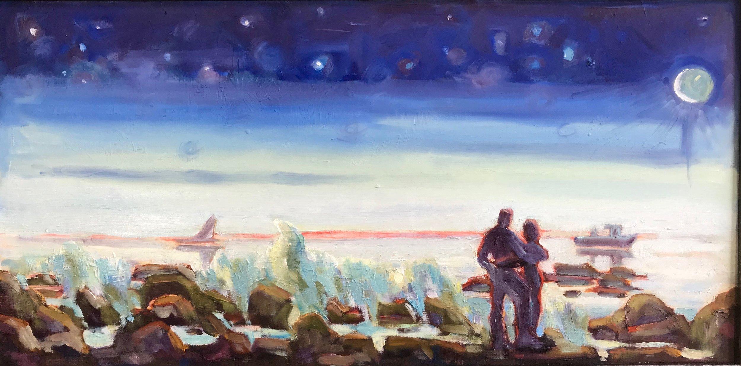 Star Gazers, oils, 12 x 36