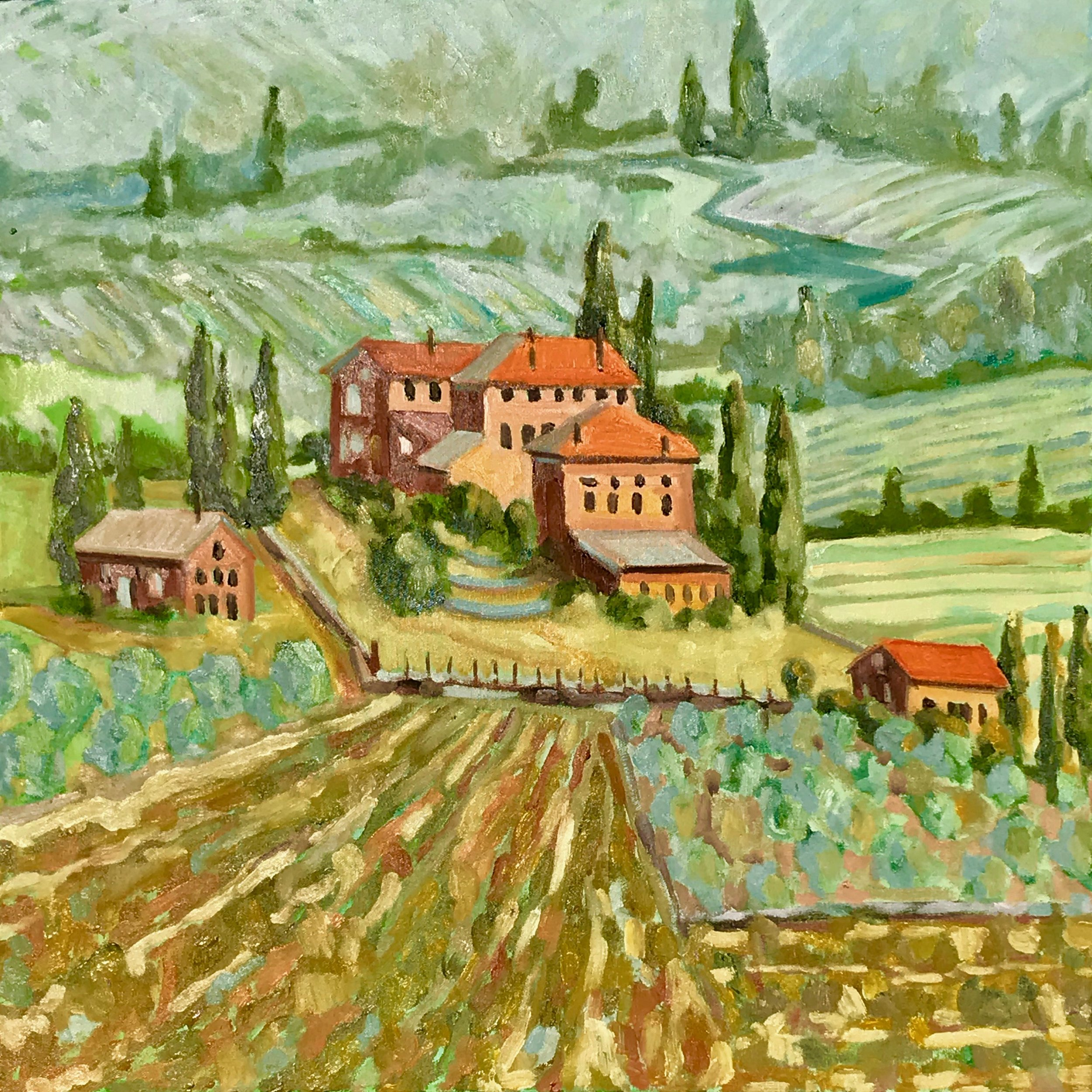 Dreaming of Tuscany, oils, 24 x 24