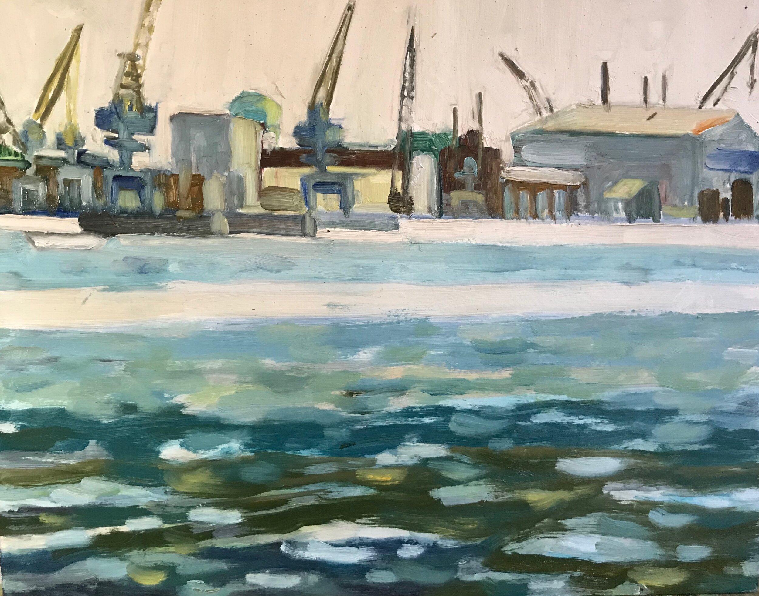 Morning Shift, Shipyard , oils, 11 x 14