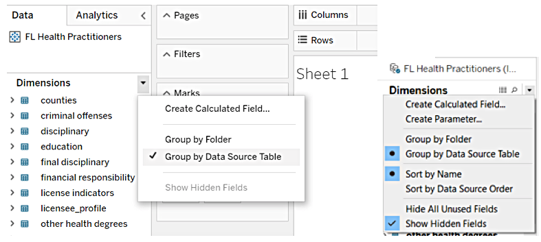 Web Authoring: No Parameter Creation from published data sources