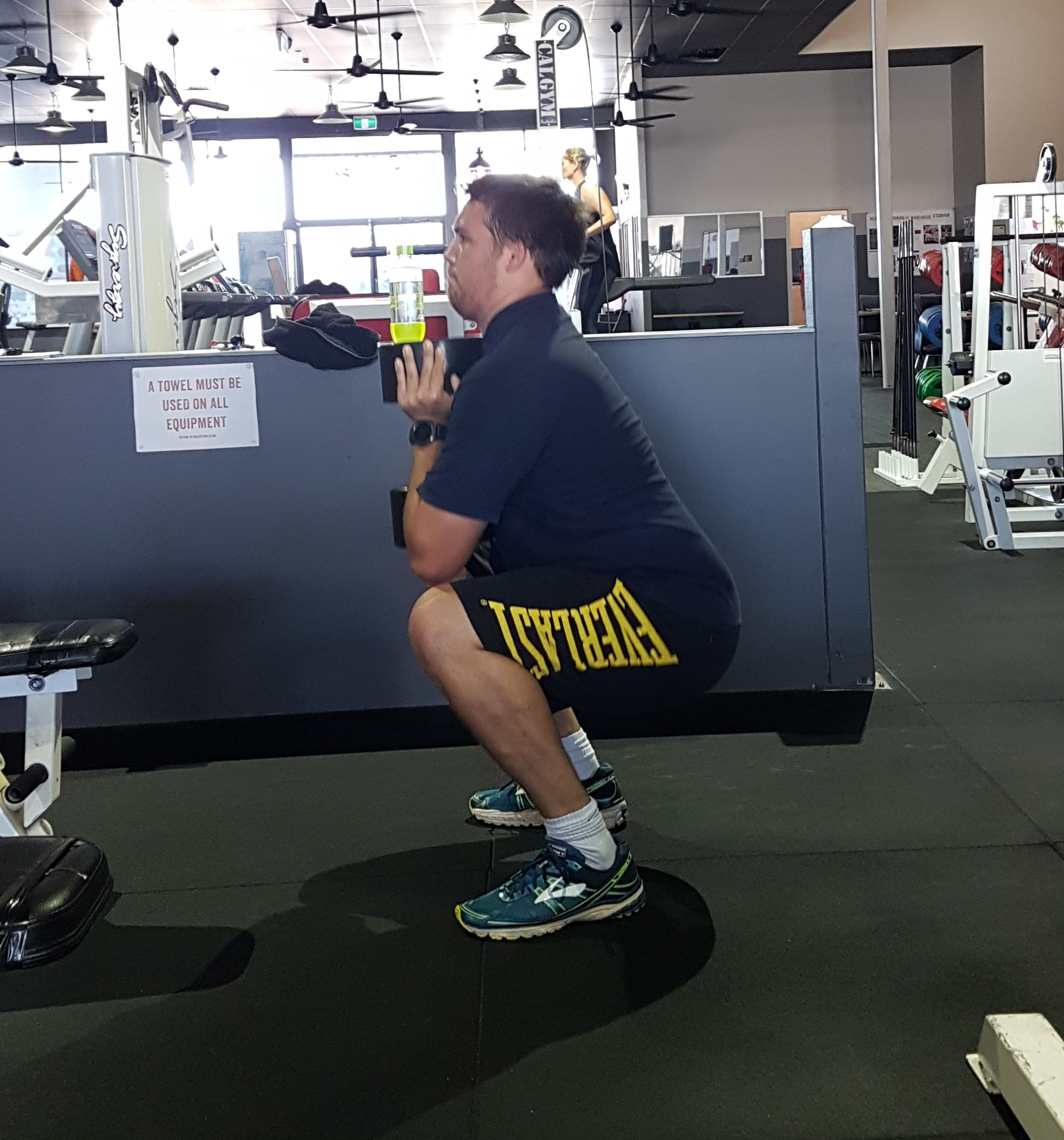 Tom crushing a set of Dumbbell Goblet Squats