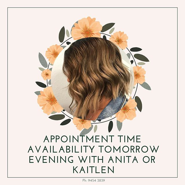 Appointment time availability for tomorrow night getting you ready for the long weekend call 94543839 to book no DMs