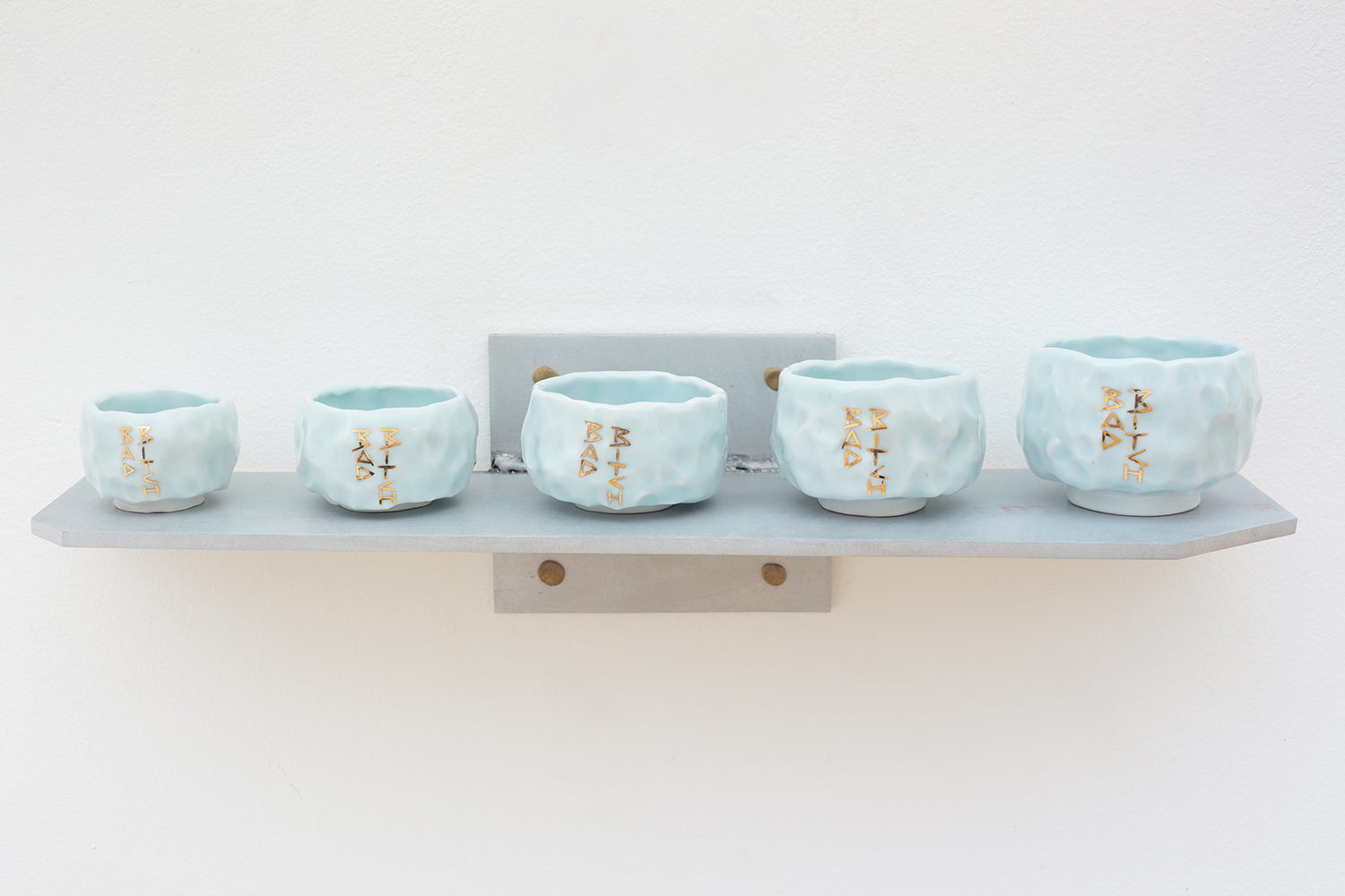 """Bad Bitch Cup Series  2016 Glazed Porcelain, Gold Luster, Aluminum, Sculpey Clay 5"""" x 20"""" x 6"""""""