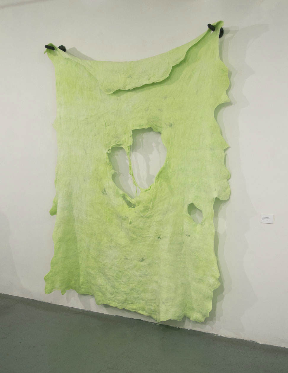 "Snot Rocket (Installation View)  2014 Felted wool, Kool-aid, ceramics 67"" x 95"""