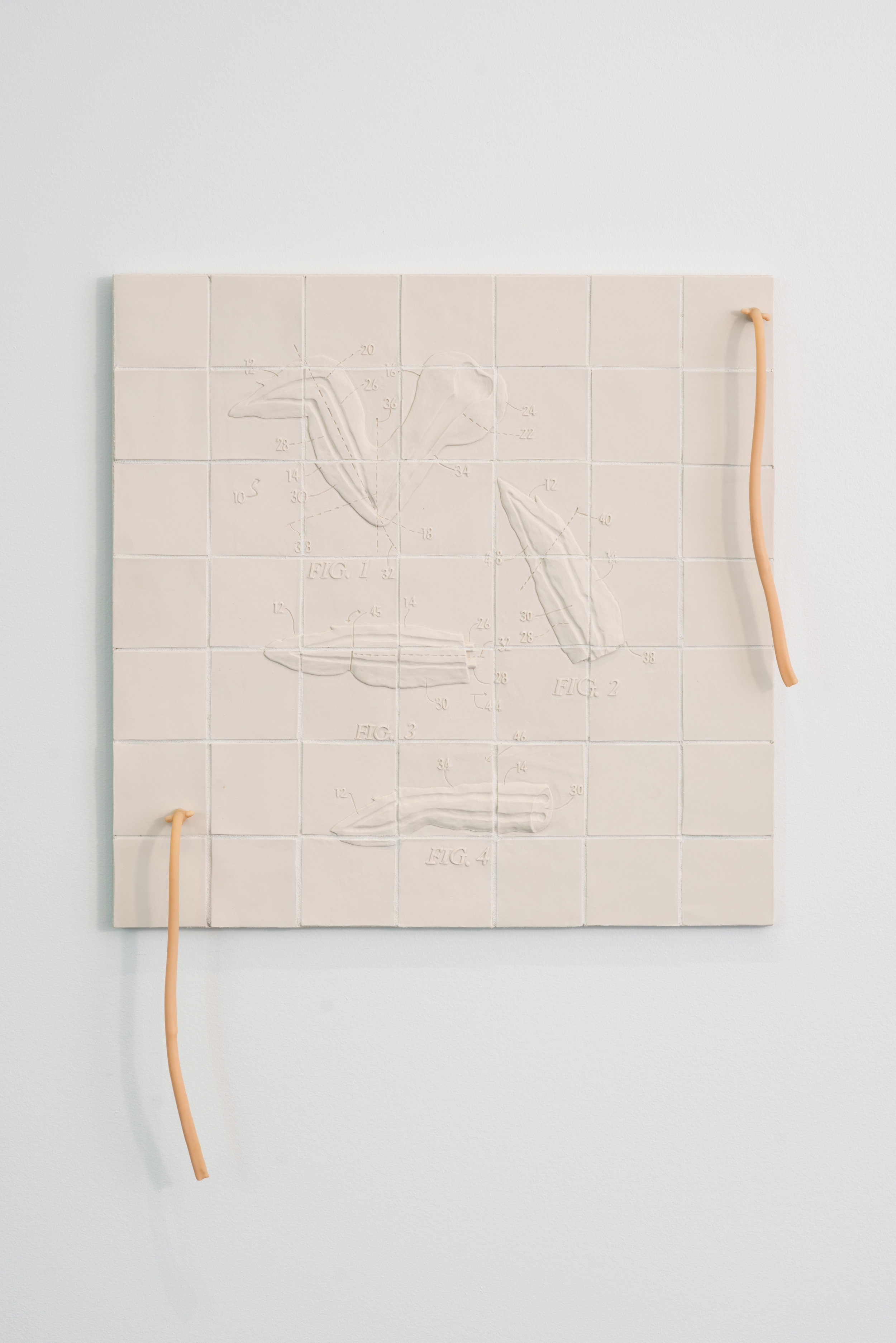 "Flats and Rounds  2018 Porcelain, Grout, Hardware, Latex tubing, Silicone 31""H x 31""W x 3""D  Photograph courtesy of MCA Denver"