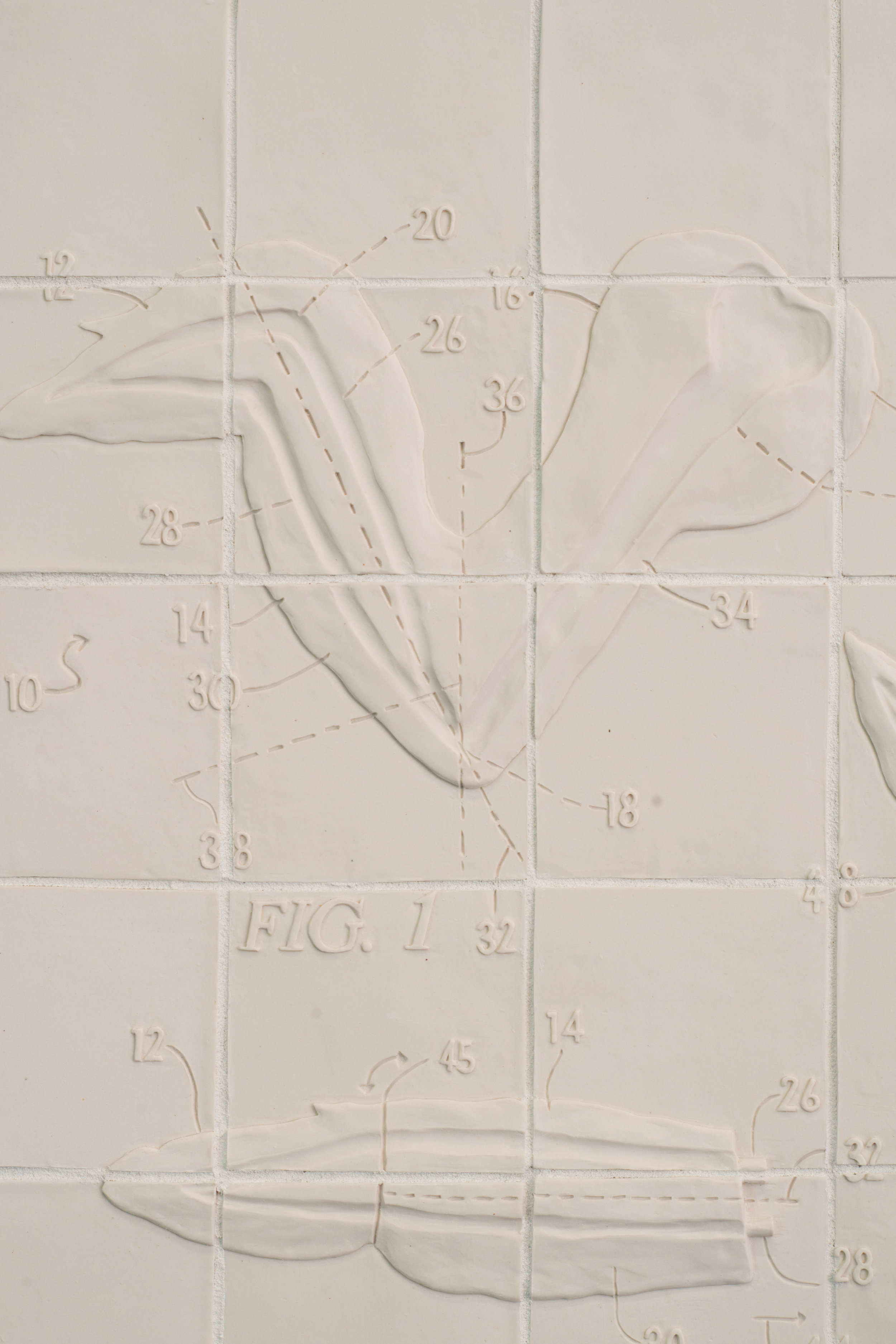 """Flats and Rounds  2018 Porcelain, Grout, Hardware, Latex tubing, Silicone 31""""H x 31""""W x 3""""D  Photograph courtesy of MCA Denver"""