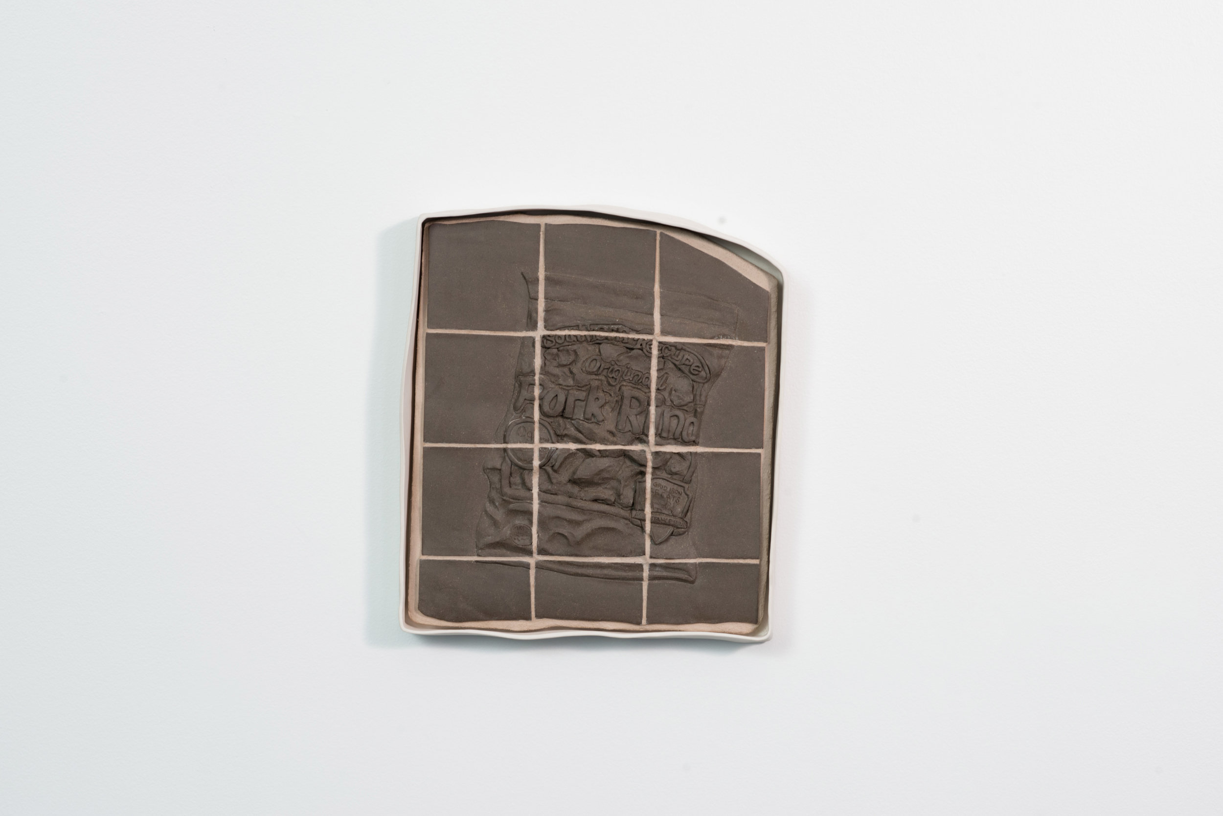 """Southern Recipe  2016 Porcelain frame, Stoneware, Grout, Plywood 15"""" x 13.5"""" x 3""""  Photograph courtesy of MCA Denver"""