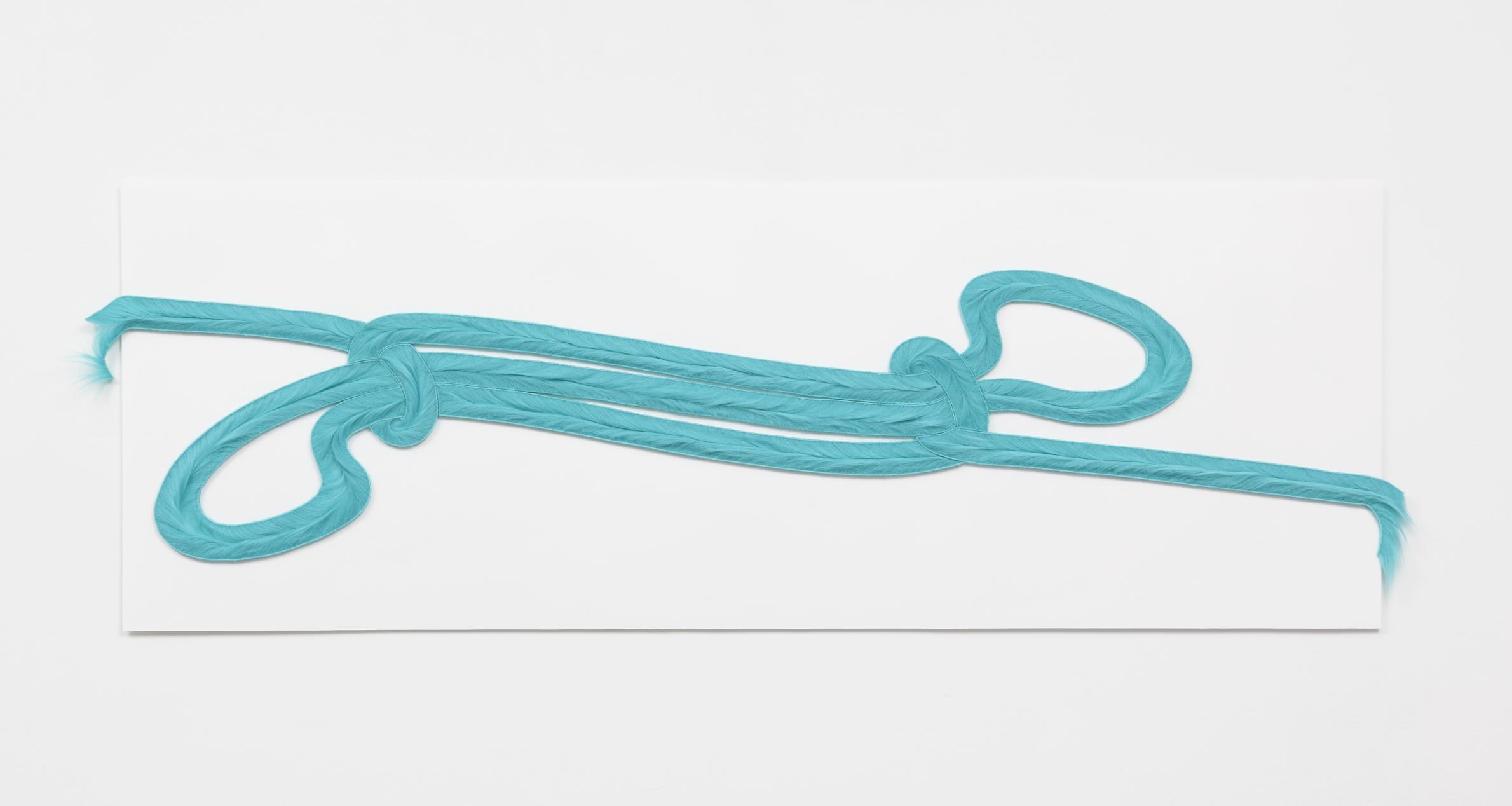 "John Smith's Sheepshank , 2018, faux fur on paper, 19x48x.5"""