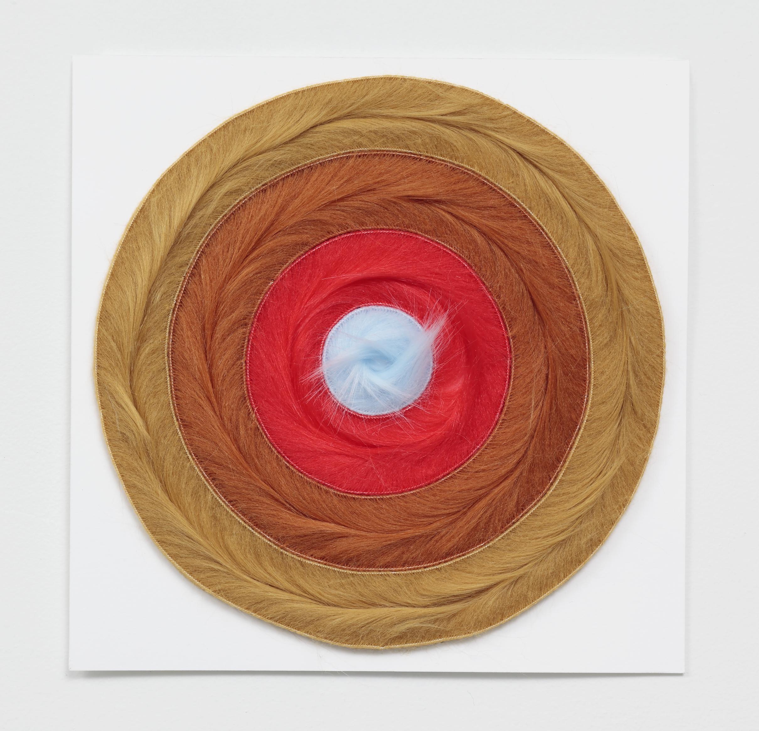 """Core Sample color study , 2018, faux fur on paper, 10x10x1"""""""