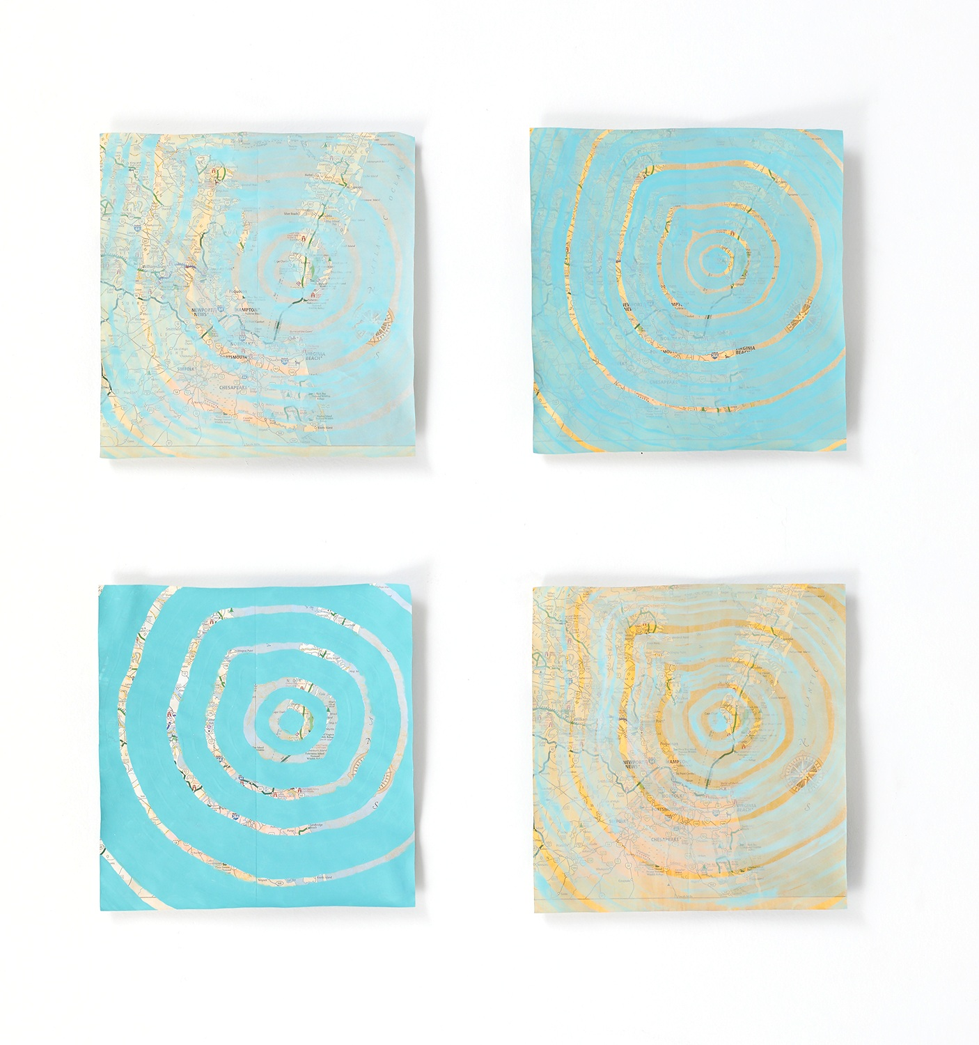 """Chesapeake Bay Impact Crater on VA Scenic Route Map , 2019, gauche and watercolor (water from Jamestown) on map, 8x8"""" each"""
