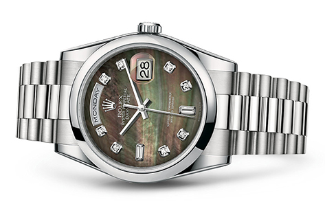 Rolex Day-Date 36mm Platinum MOP 118206  Retail Price: $62,400 Our Price: $53,040   Call for additional savings: 215-922-4367
