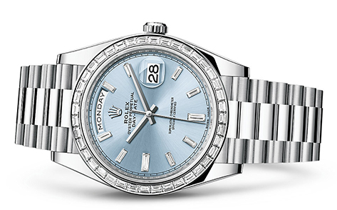 Rolex Day-Date 40mm Platinum Dia 228396  Retail Price: $115,550 Our Price: $90,125   Call for additional savings: 215-922-4367