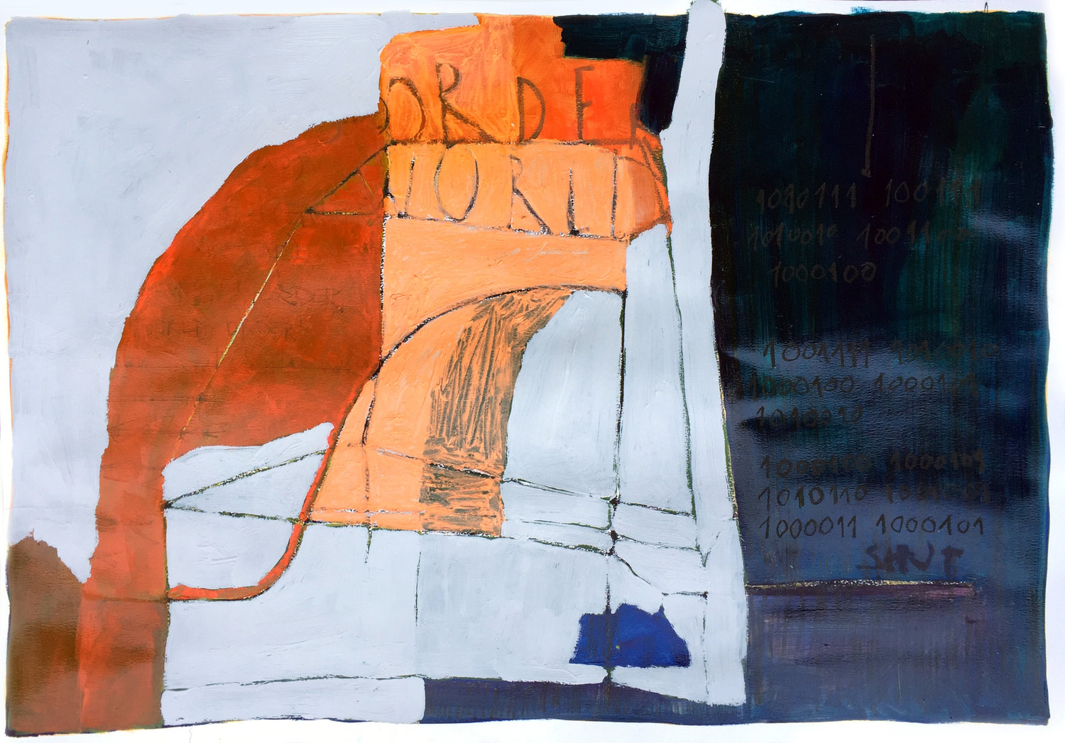 untitled   oil, charcoal and oil pastel on paper / 70cm x 100cm
