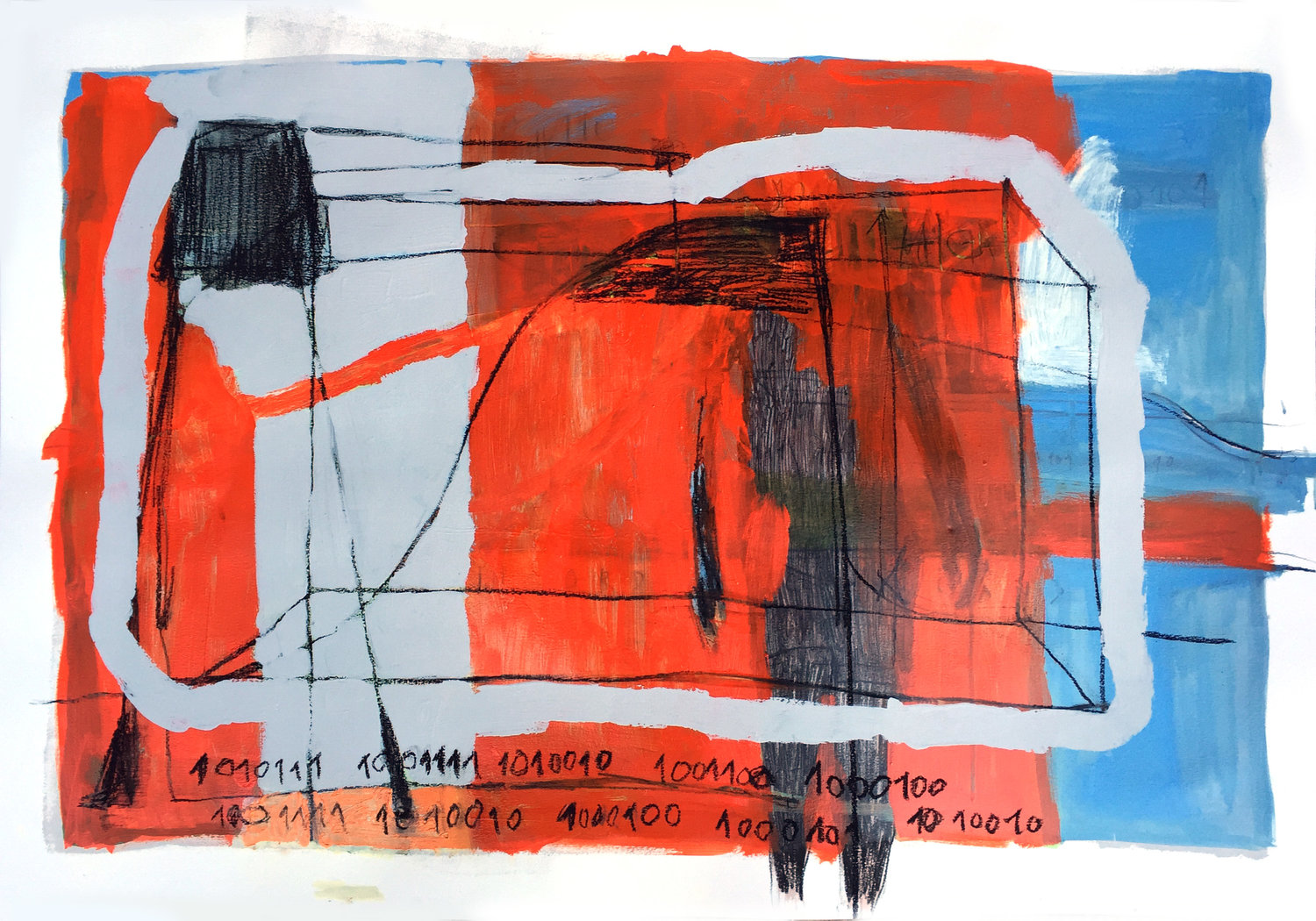 The Man in Between   oil, charcoal and oil pastel on paper / 70cm x 100cm