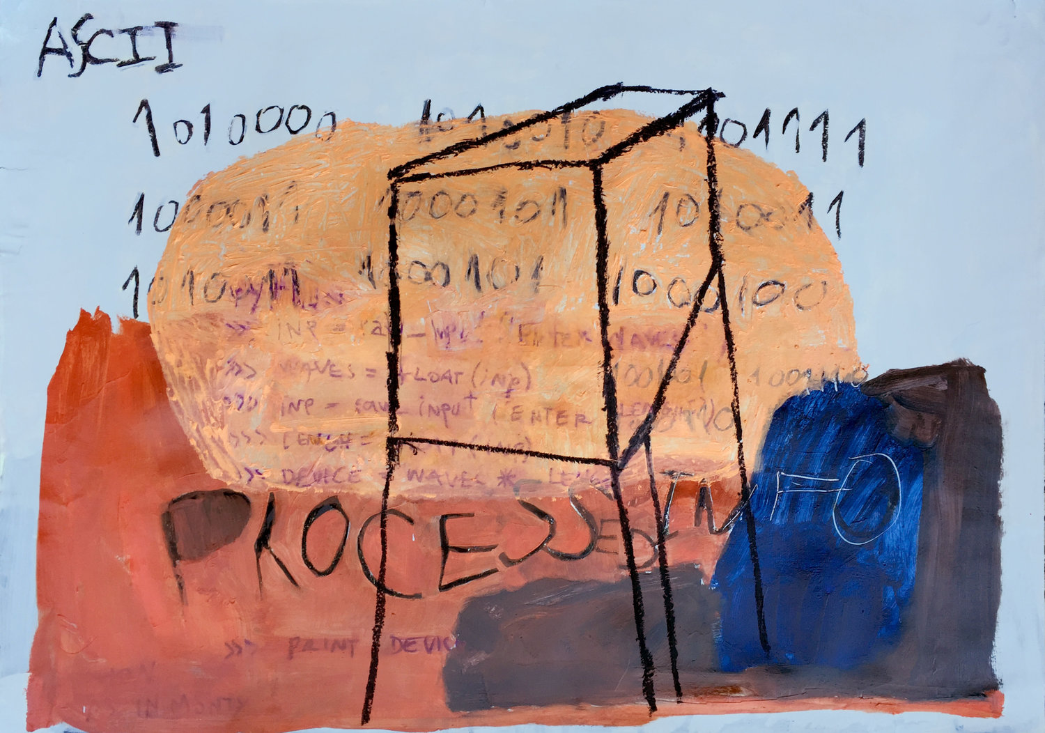 Processed Info   oil, charcoal and oil pastel on paper / 70cm x 100cm