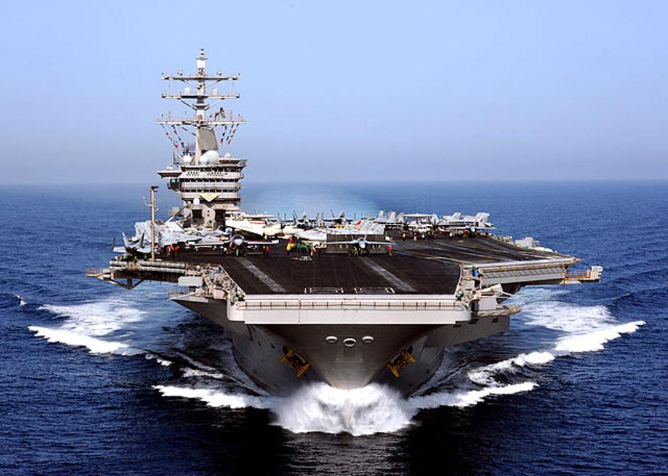 No other country in the world has a fleet of large-deck, nuclear-powered aircraft carriers like the USS Dwight D. Eisenhower, pictured above. Displacing 100,000 tons of water and standing over 20 stories high, these vessels are the biggest warships ever built. (U.S. Navy photo by Mass Communication Specialist 2nd Class Rafael Figueroa Medina/Released)