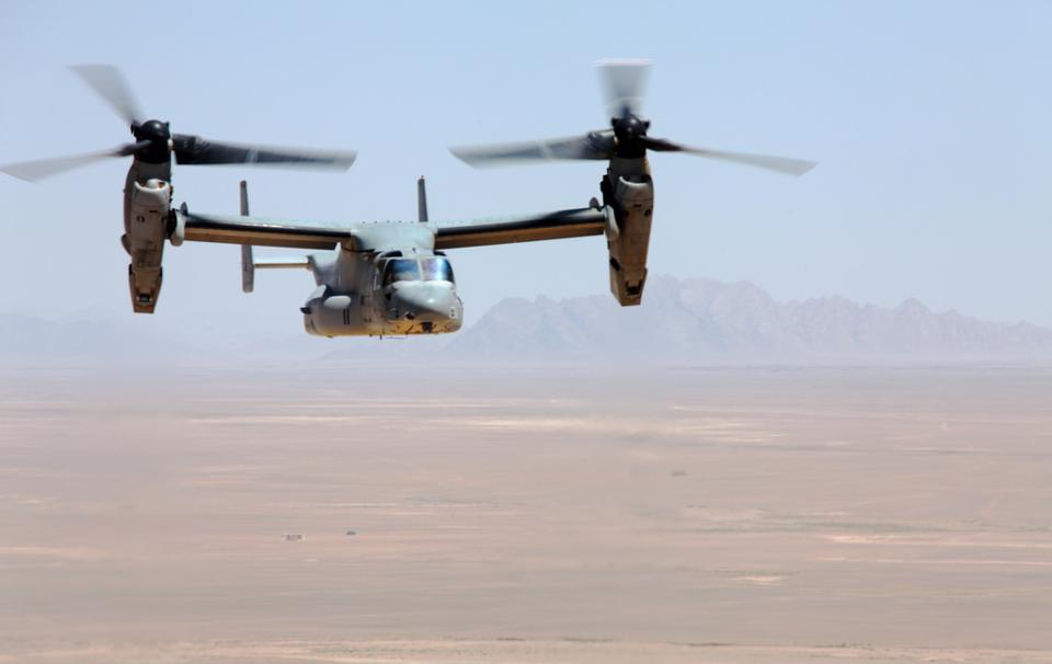 A V-22 Osprey in flight. The aircraft typically takes off with the rotors tilted upward for lift, and then shifts to airplane mode in flight to enhance speed and range. The rotors can pivot to the rear over 90 degrees to enable backward flight.