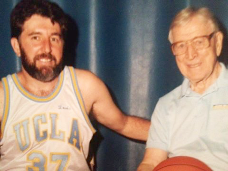 Louis Patler with John Wooden, Basketball Coach and the only person named to the College Basketball Hall of Fame as a player and a coach.