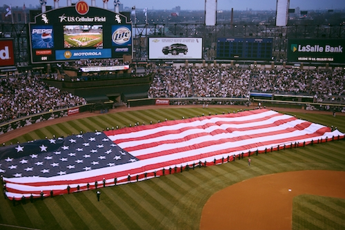 American Flag at Baseball Game