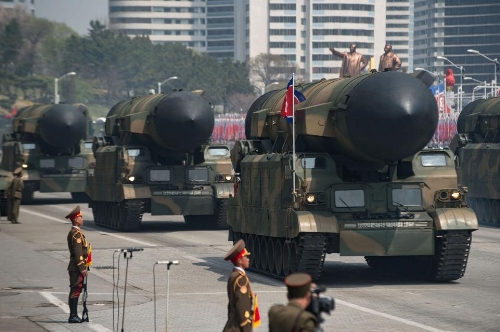 North Korea parades long-range missiles earlier this month. Kim Jong Un has made little secret of his intentions. (ED JONES/AFP/Getty Images)