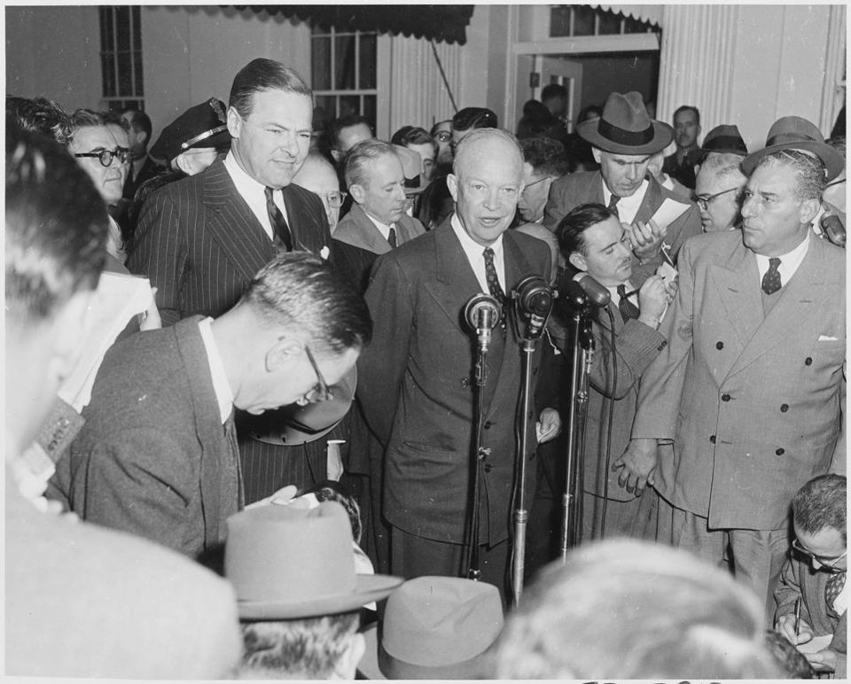 Despite his military background -- or perhaps because of it -- President Eisenhower worried about arms makers and their supporters in government exercising undue influence. Wikimedia