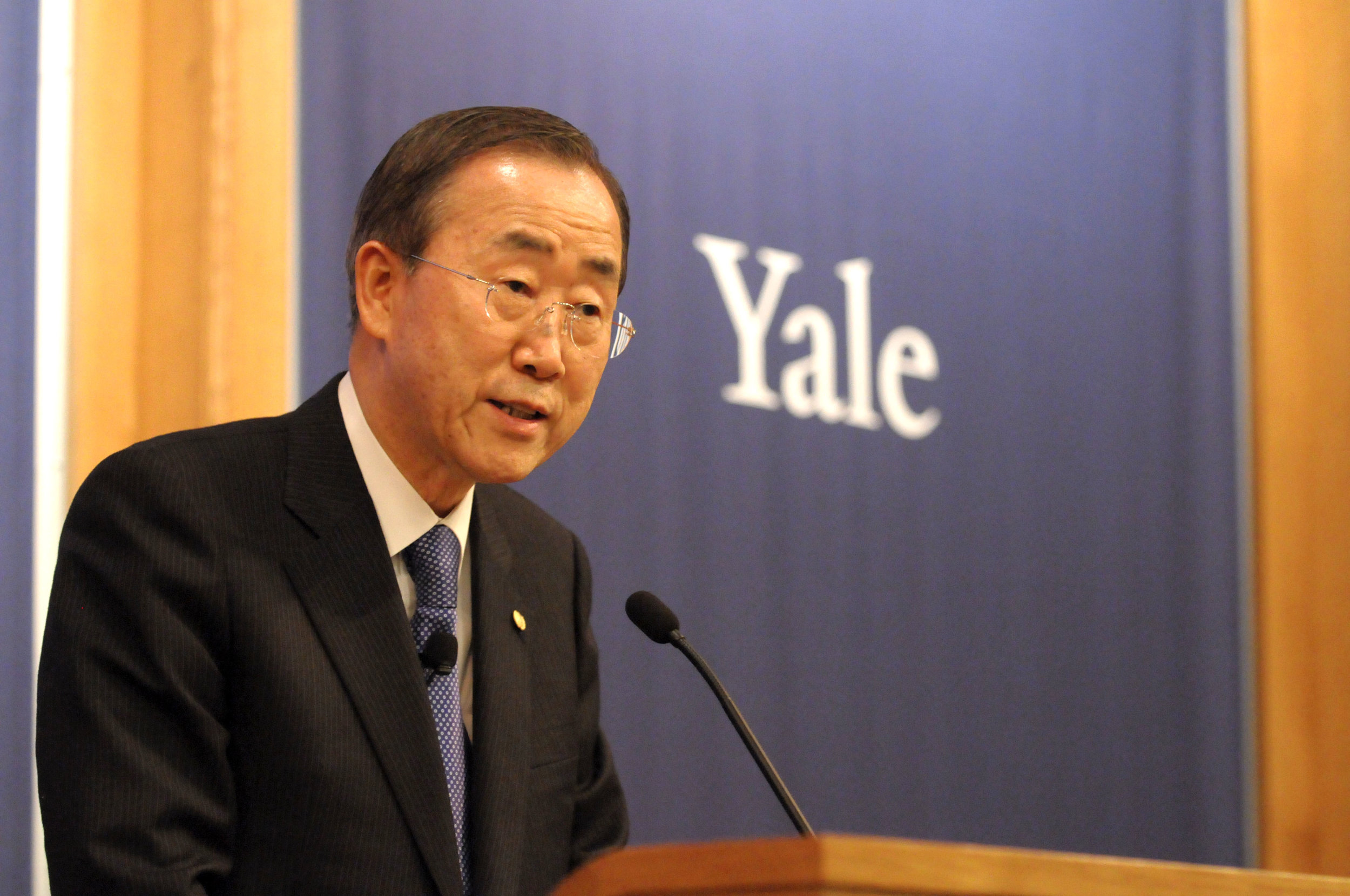 Ban Ki Moon Speaks at Yale Conference Center