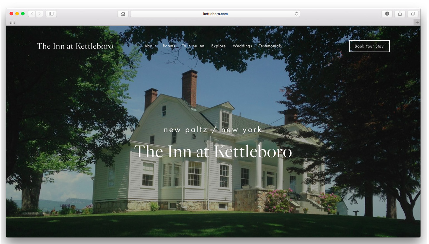 The Inn at Kettleboro.  Photography and website design highlight the beauty of this historic inn with iconic views of the Shawangunk Mountains.  www.kettleboro.com