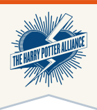 The logo of the Harry Potter Alliance, a heart with a lightning bolt severing it in two.