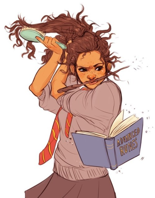 A cute illustration of a Black or perhaps mixed-race Hermione fighting to brush her hair as she reads from a levitating book of Advanced Runes.