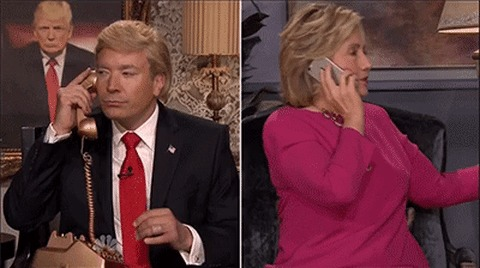 An image from a Saturday Night Live sketch of Hillary and Trump talking on the phone.