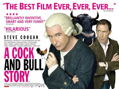 The poster for  A Cock and Bull Story , featuring Steve Coogan in a wig.