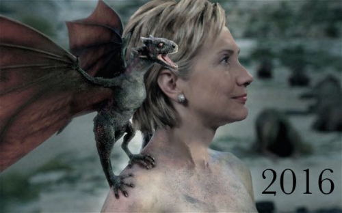 Hillary Clinton, as Daenerys Targaryen emerging from the fire with a dragon on her shoulder