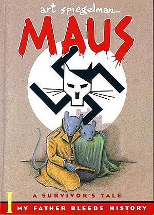 The cover of  Maus , by Art Spiegelman. Two mice kneel under a swastika with a cat's head superimposed on the swastika's center.