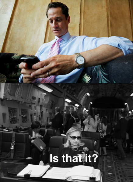 "A meme. In the first panel, Anthony Weiner texts what we assume are dick pics to Hillary. In the second panel, Hillary (looking unimpressed) texts back: ""Is that it?"""